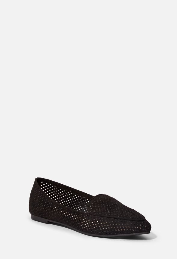 c67ad9998f6 Sko Jolienna Perforated Flat i Sort - Shop fabelagtige deals hos JustFab