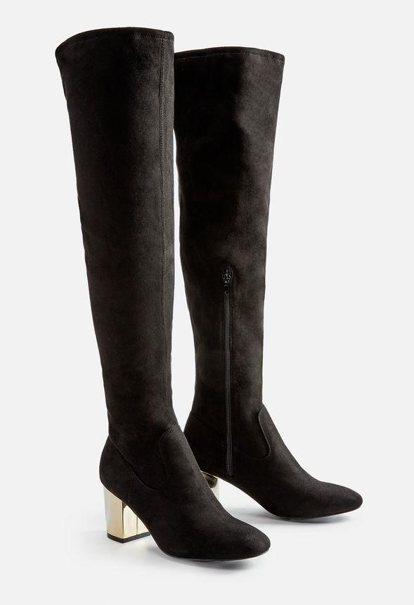 Adina Overknee Stiefel Schuhe in Schwarz günstig online