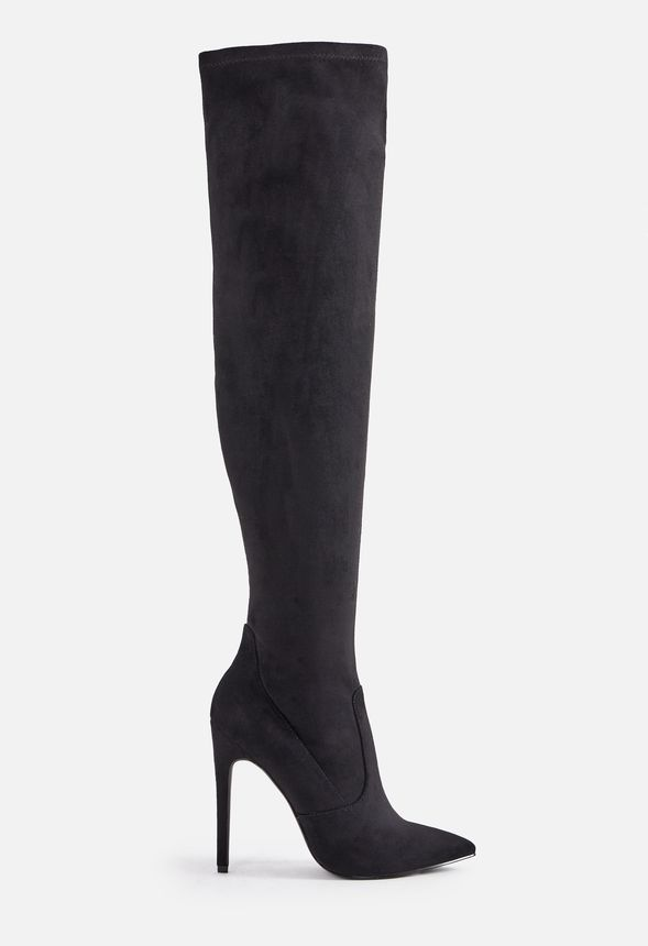 f18aad6ea30 Freya Stilleto Over-The-Knee Tall Boot Shoes in BLACK FAUX SUED ...