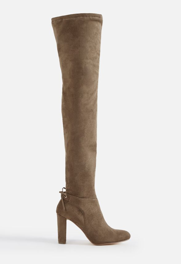 3848856cfdae4 Adeelah Heeled Boot Shoes in DK TAUPE - Get great deals at JustFab