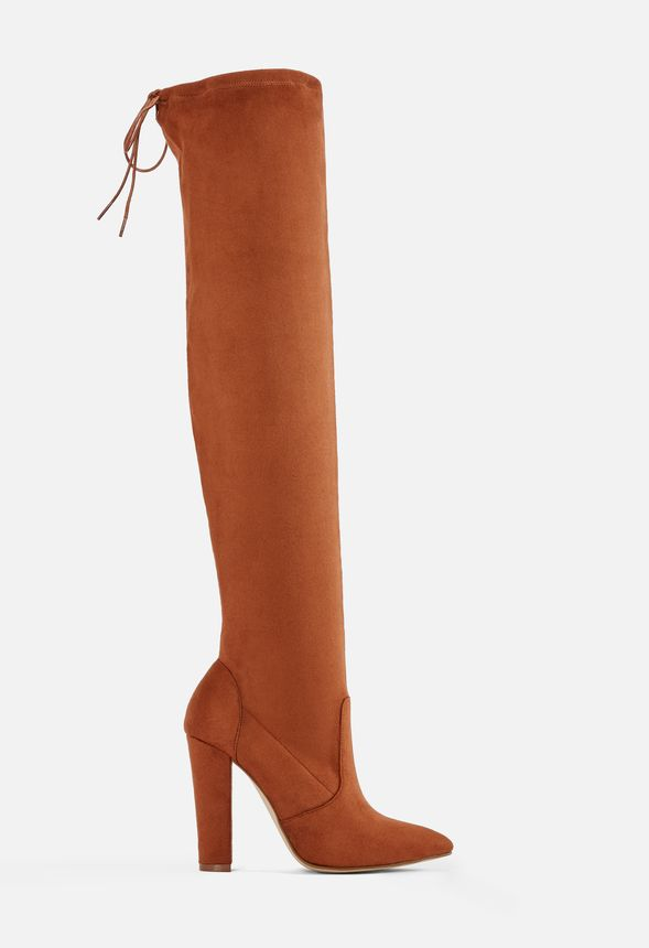Cara elastische Overknees Schuhe in Chestnut günstig