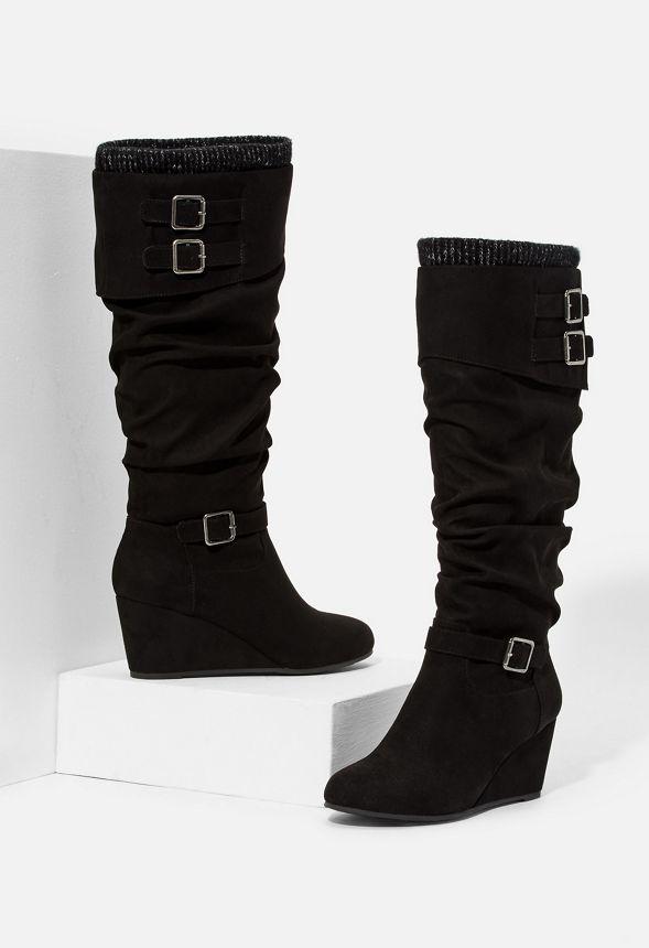 e466469794435 Zapatos Botas de cuña Morgan en Negro - Envío gratuito en JustFab