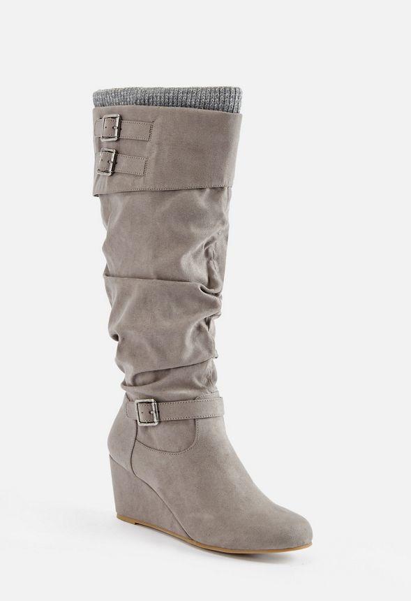 912763bd7c7a0 Zapatos Botas de cuña Morgan en Gris - Envío gratuito en JustFab