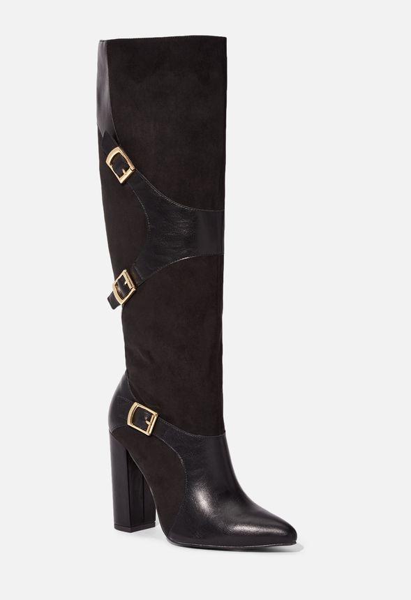 Skor Yelda Buckle Tall Boot i Svart Fantastiska