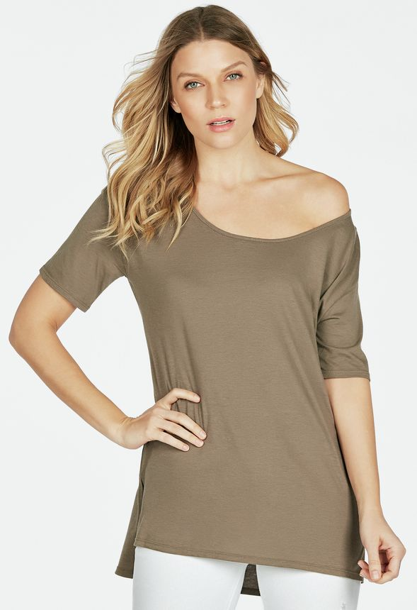 5d00b6e6a78 Slouchy Off the Shoulder Tee Clothing in MUSHROOM - Get great deals at  JustFab