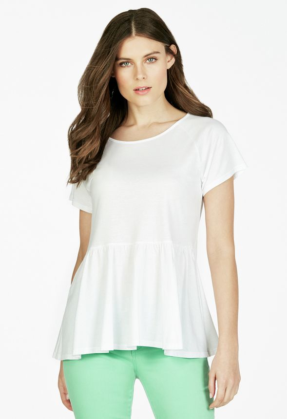 4755a2b16a8fd4 Peplum Tee Clothing in White - Get great deals at JustFab