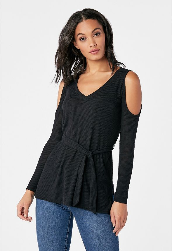 f9dafc8516a02 Cold Shoulder Tunic Clothing in Black - Get great deals at JustFab
