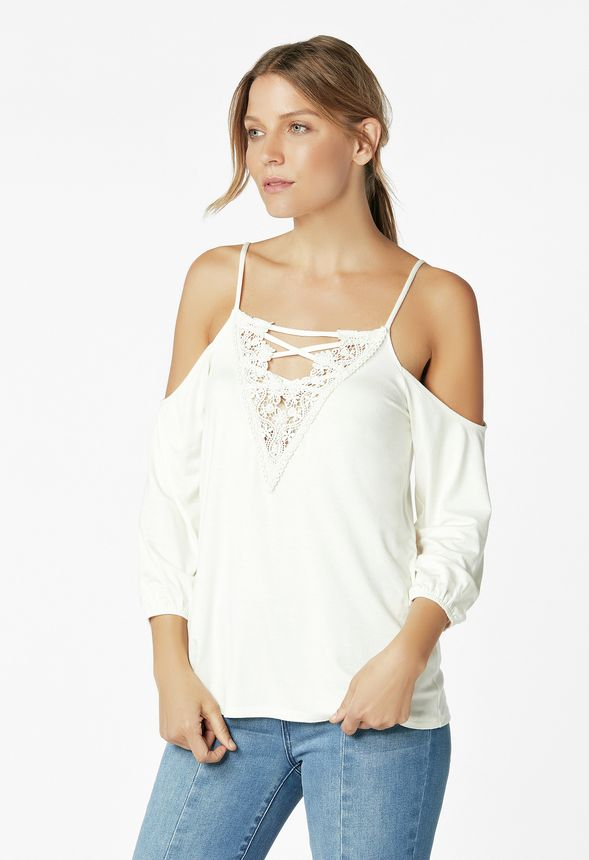 61e8ab455a5258 Cold Shoulder Lace Top Clothing in Off White - Get great deals at JustFab