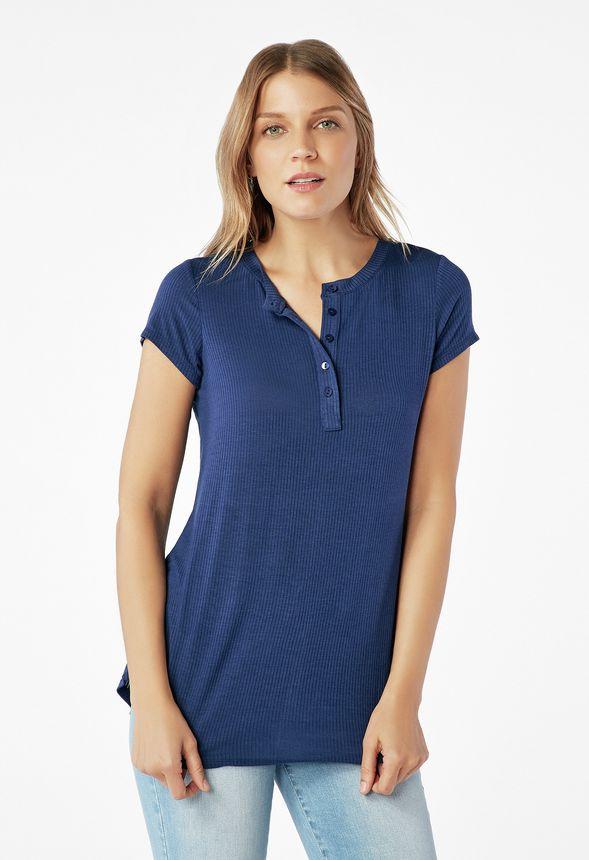 74c297b76ceff2 Short Sleeve Henley Tee Clothing in Indigo - Get great deals at JustFab