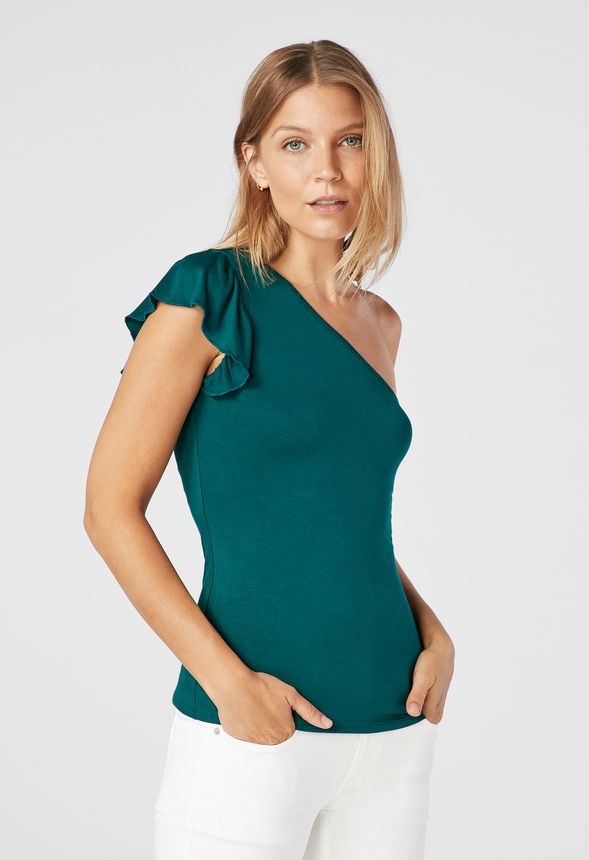 7adf0d2f279 Ruffle One Shoudler Knit Top Clothing in WINTER GREEN - Get great deals at  JustFab