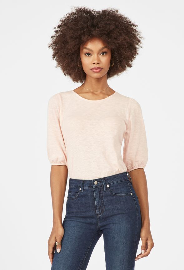 4e70c97d01 Puff Sleeve Knit Top Clothing in GOSSAMER PINK - Get great deals at ...