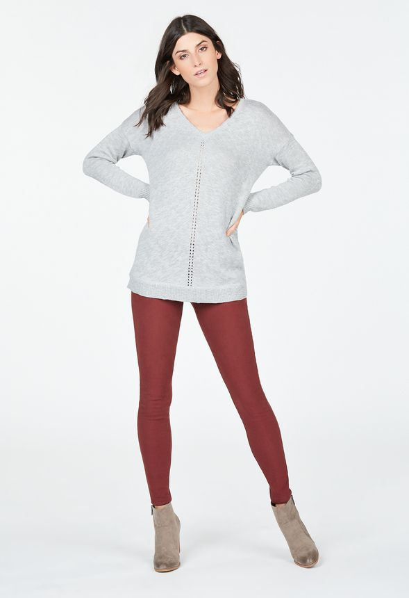 3977986a6347aa V-Neck Sweater Tunic Clothing in LIGHT HEATHER GREY - Get great deals at  JustFab