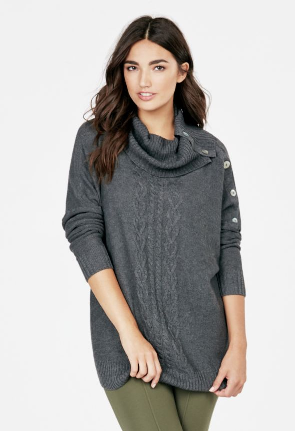 2c130ec83d6e61 Dolman Side Button Sweater Clothing in Charcoal Heather - Get great deals  at JustFab