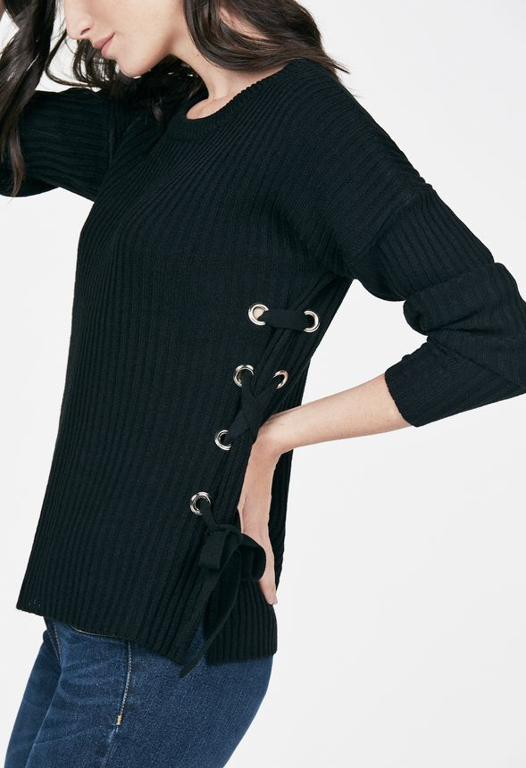aa8ac804e8 Side Lace Up Sweater Clothing in Black - Get great deals at JustFab