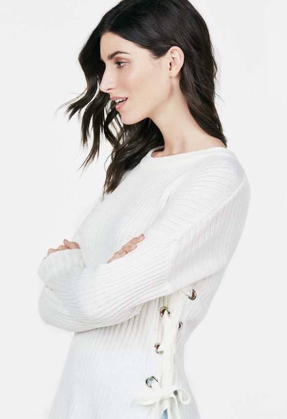 b57b16f2e6 Side Lace Up Sweater Clothing in Ivory - Get great deals at JustFab
