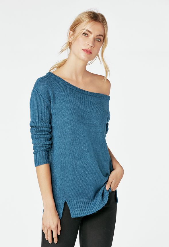9b3763f8385f7 Off Shoulder Sweater Clothing in MOROCCAN BLUE - Get great deals at JustFab