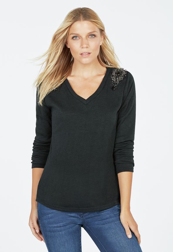 eff2d02f437b9 Jewelled Shoulder Sweater Clothing in Black - Get great deals at JustFab