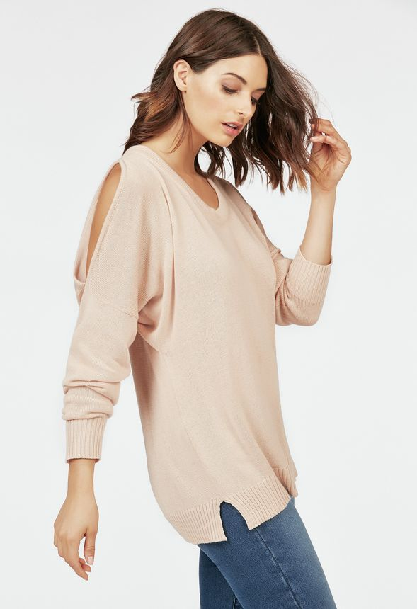 ff56940906781 Cut Out Shoulder Relaxed Sweater Clothing in Blush - Get great deals at  JustFab