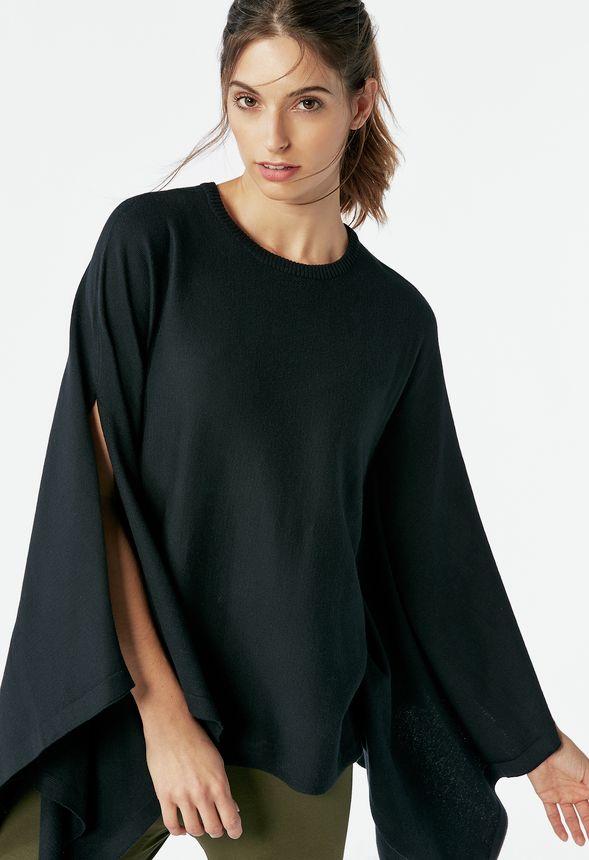 drape poncho pullover kleidung in schwarz g nstig kaufen. Black Bedroom Furniture Sets. Home Design Ideas