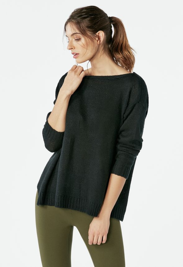 685a43240b4d0 Off Shoulder Pulllover Sweater Clothing in Black - Get great deals at  JustFab