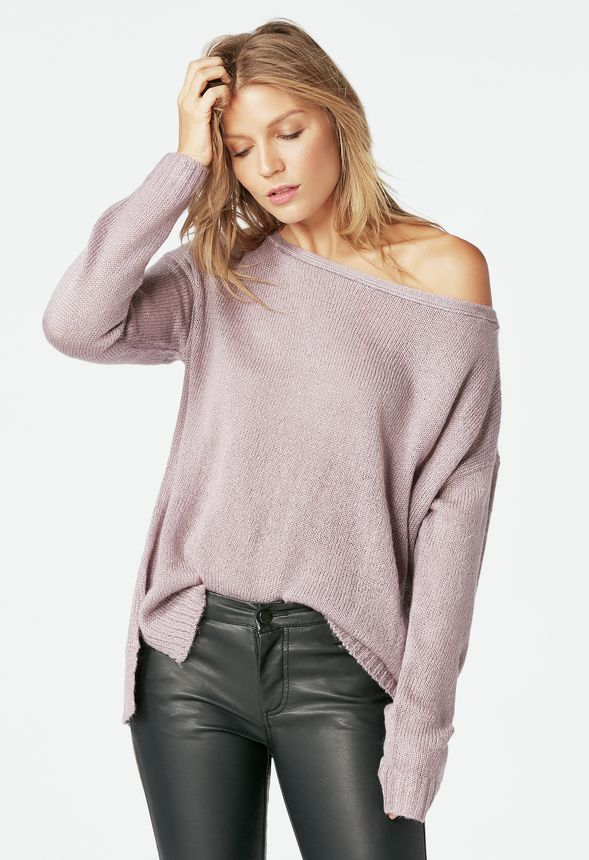 135f92b044a Off Shoulder Pulllover Sweater Clothing in Dusty Purple - Get great deals  at JustFab