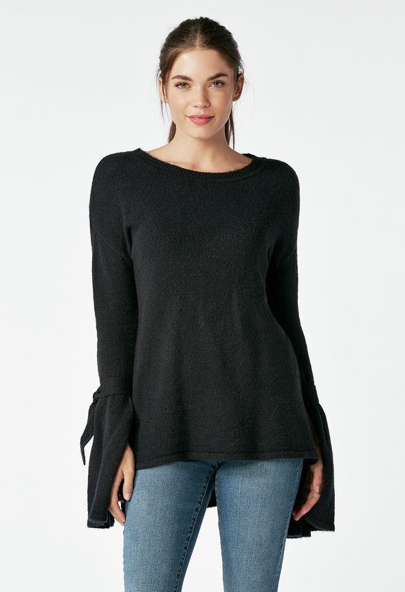 Vêtements Tie Sleeve Sweater En Noir Livraison Gratuite Sur Justfab