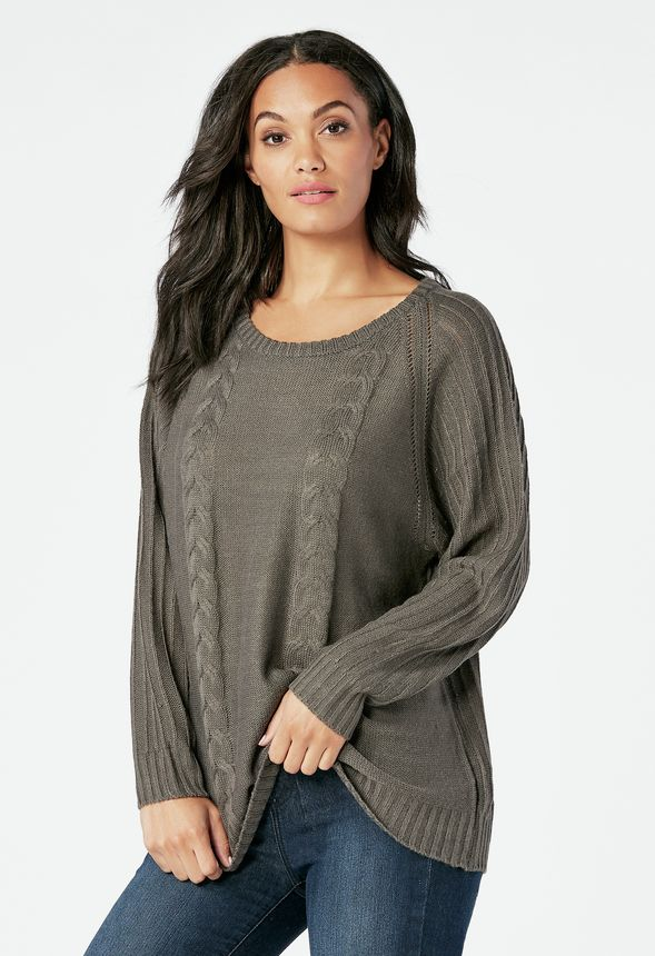 Dolman Pullover Sweater Clothing in Charcoal - Get great deals at JustFab 788c8d4f0