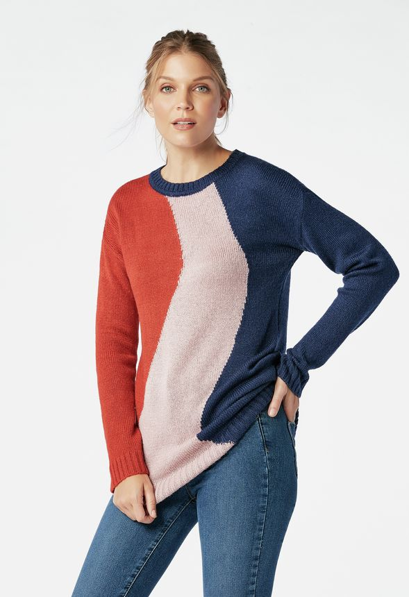 16c58cc2ee7 Color Block Tunic Sweater Clothing in Indigo Multi - Get great deals at  JustFab