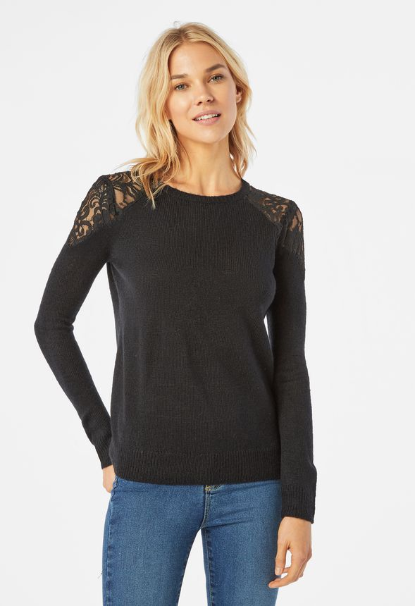 08d2213e62ca Lace Detail Pullover Clothing in Black - Get great deals at JustFab