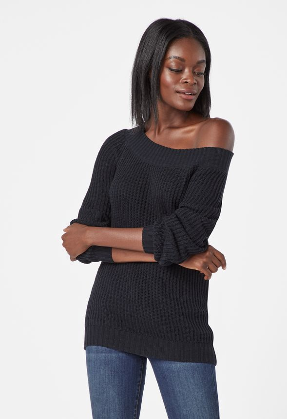 Slouchy Off Shoulder Pullover Kleidung in Schwarz günstig