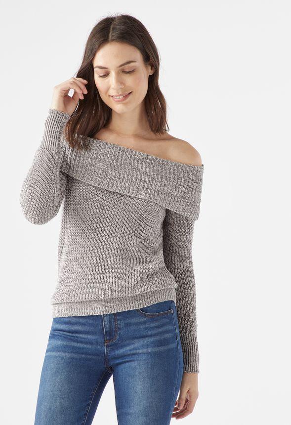 Vêtements Off Shoulder Sweater En Gris Multi Livraison Gratuite