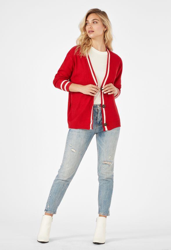 VARSITY STRIPE CARDIGAN Kleidung in INDIE RED - günstig ...
