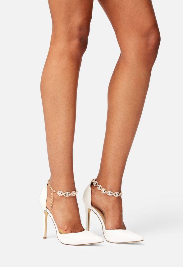 Sko Jodi Embellished Ankle Strap Court i Hvid Shop