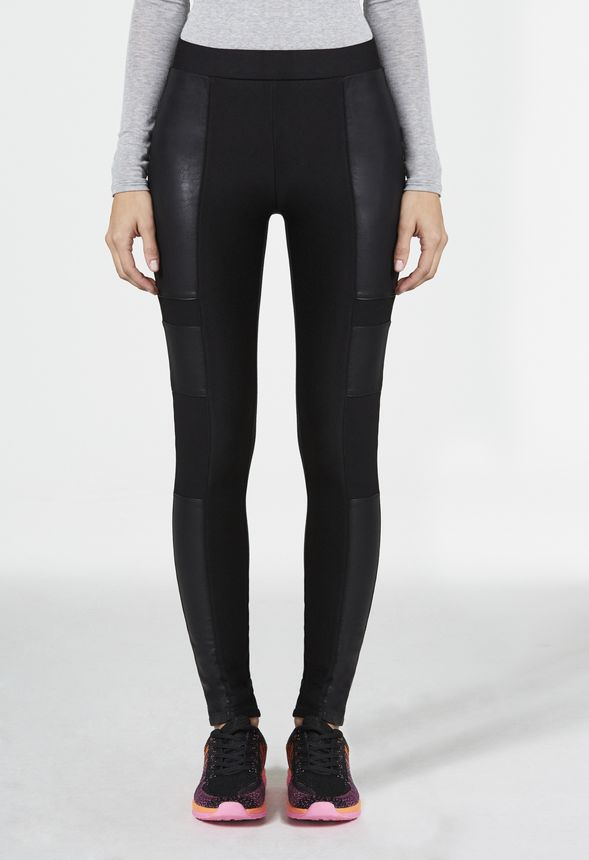 Faux Leather Blocked Legging