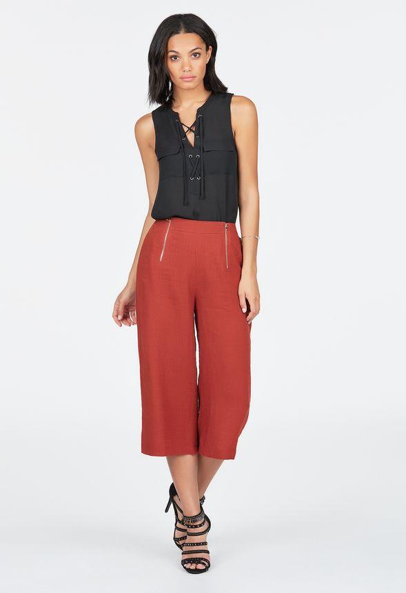 Zipper Linen Culotte