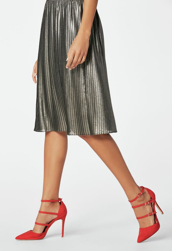 b6afbda03936 Pleated Midi Skirt Clothing in Silver - Get great deals at JustFab