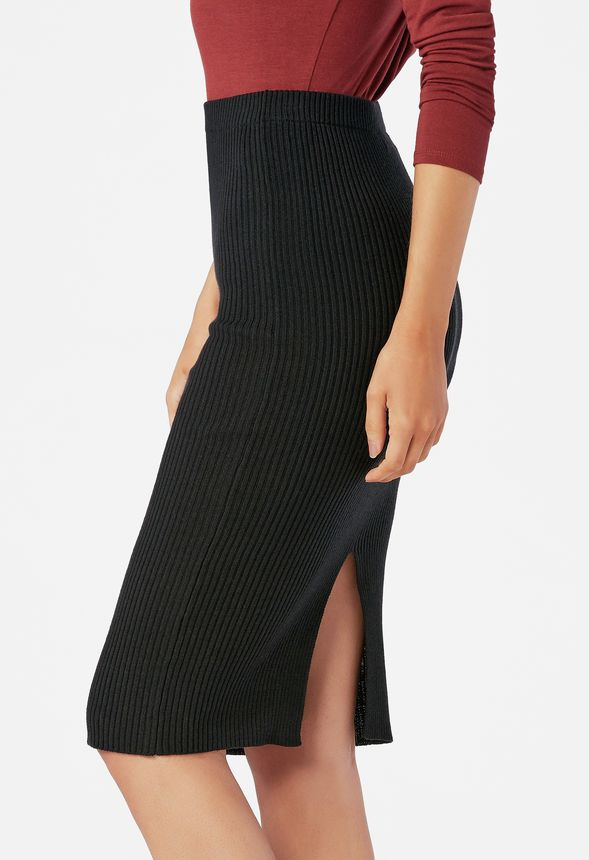 v tements midi sweater skirt en noir livraison gratuite sur justfab. Black Bedroom Furniture Sets. Home Design Ideas