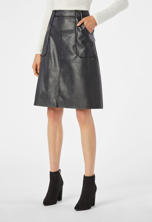 6d7aa02f95c4 Faux Leather Midi Skirt Clothing in Black - Get great deals at JustFab