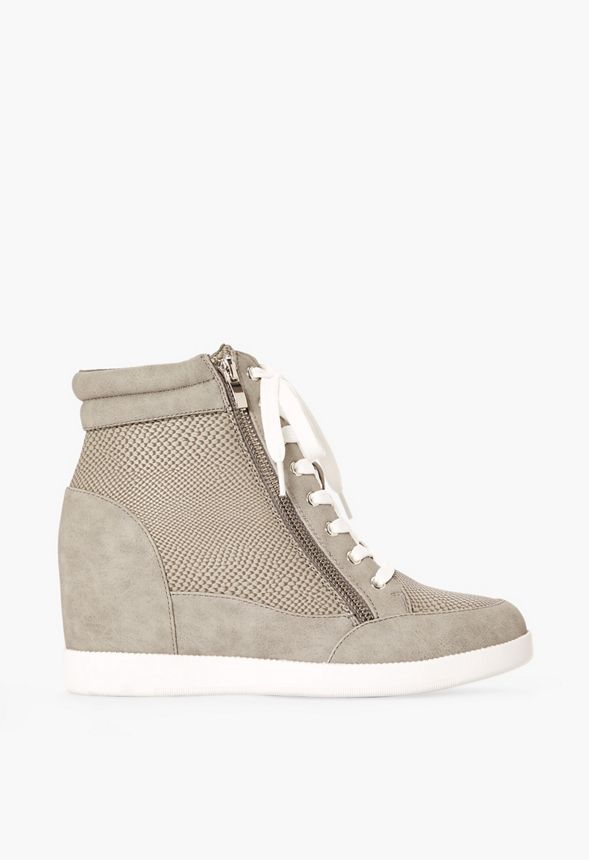 Cool Girl Wedge Trainers Shoes in Grey