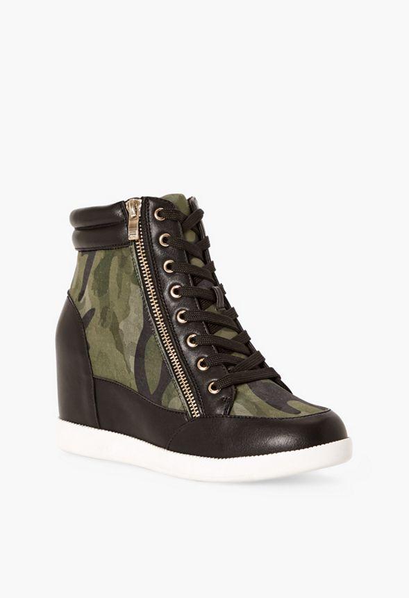Skor Cool Girl Sneakers med kilklack i Kamouflage
