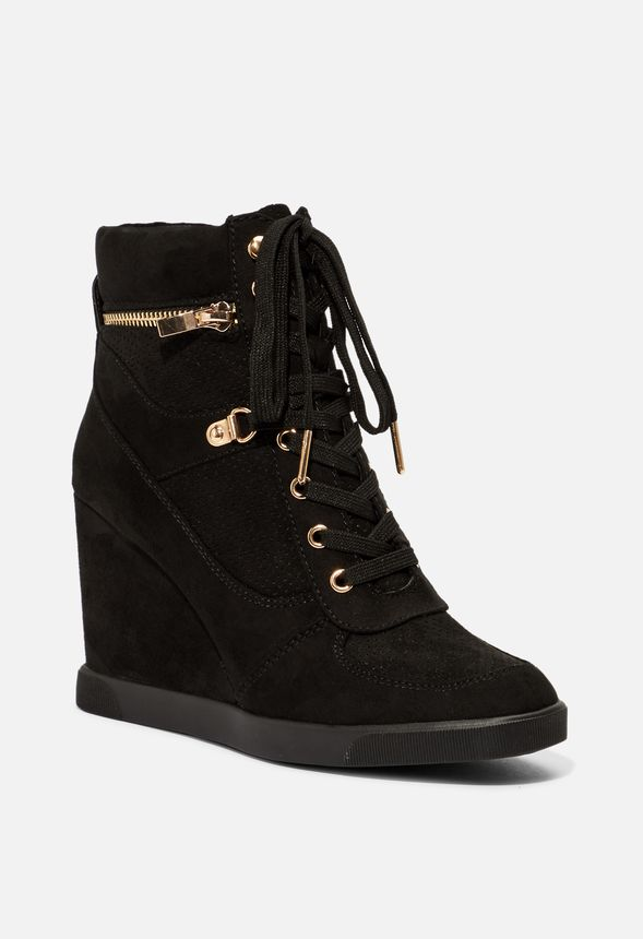 Bristol Wedge Trainers Shoes in Black