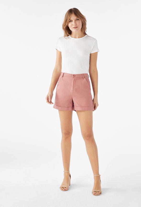Vêtements Short taille haute à revers en WITHERED ROSE - Livraison ... aba39e707aa