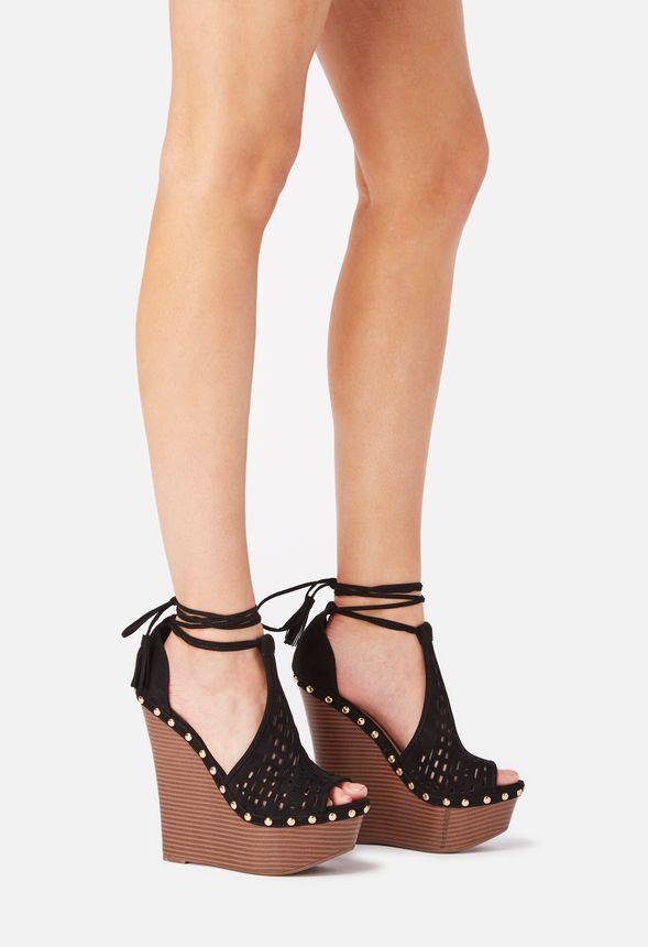 Justfab Sandalias Gratuito En Envío Zapatos De Cuña Lucien Negro 35RjL4A