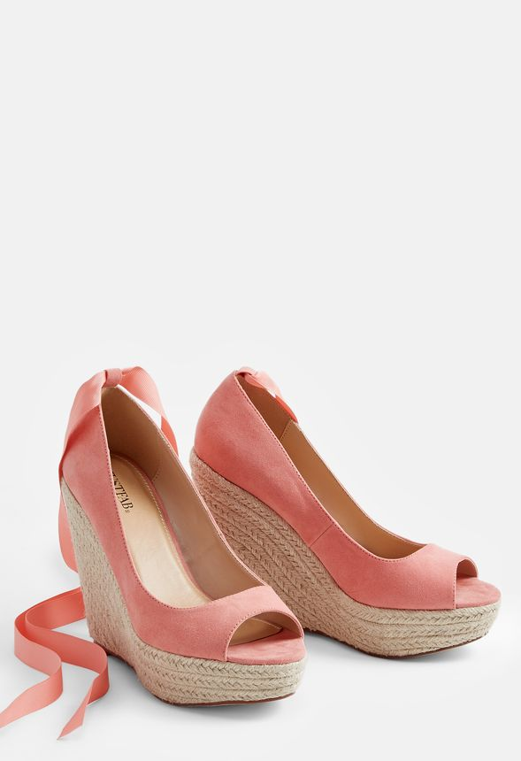 Sade Wedge Shoes in Coral - Get great deals at JustFab