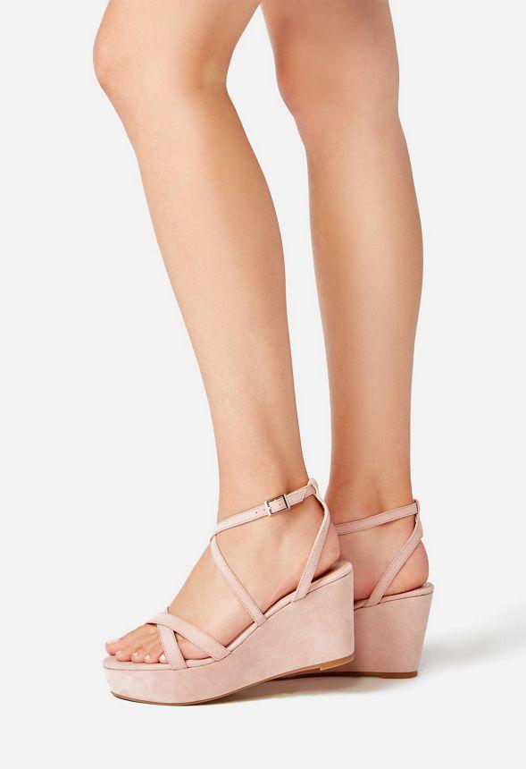 Keiko Platform Wedge Shoes in Blush