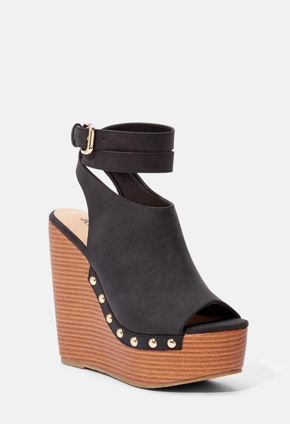 De Gratuito Justfab Sandalias En Zapatos Negro Sarahh Envío Cuña 34jRL5A