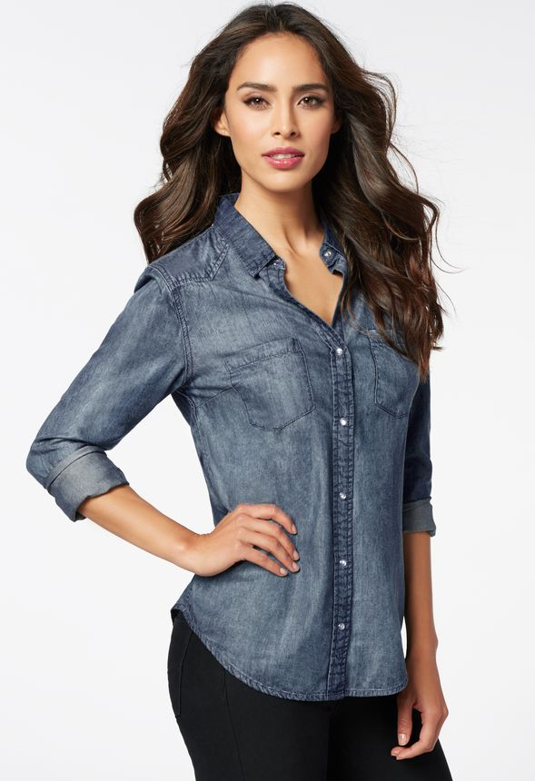 v tements chambray denim shirt en bleu marine livraison gratuite sur justfab. Black Bedroom Furniture Sets. Home Design Ideas
