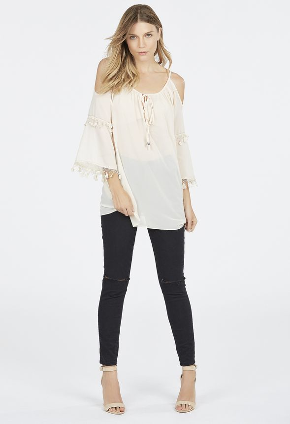 bf1d6053d48abf Cold Shoulder Lace Trim Top Clothing in White - Get great deals at JustFab