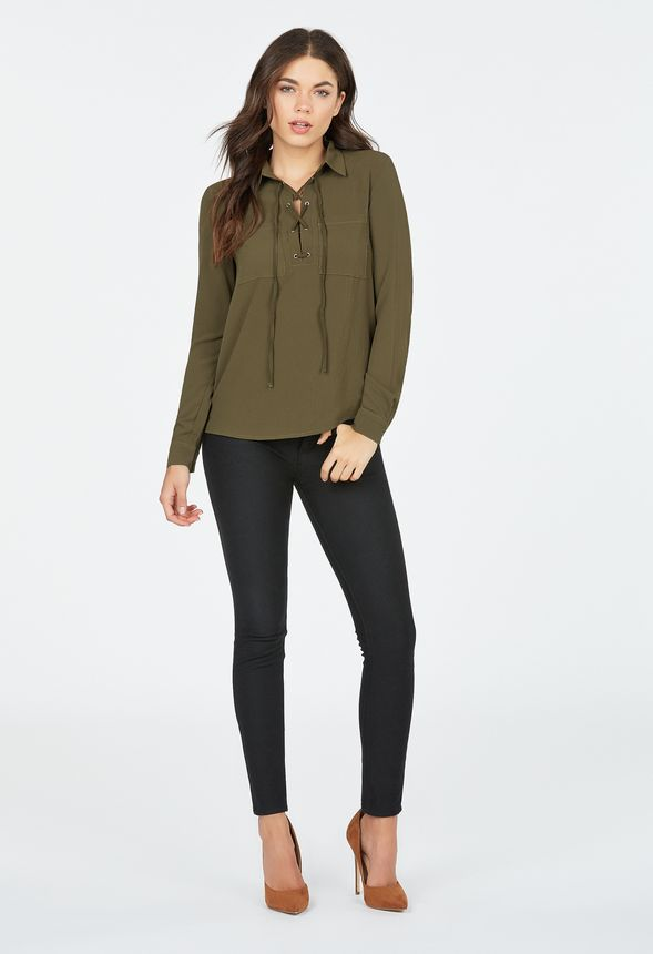 23bd27ce085 Lace-Up Long Sleeved Shirt Clothing in Olive - Get great deals at JustFab