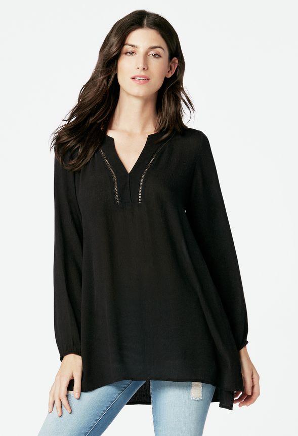 gauze tunic kleidung in schwarz g nstig kaufen bei justfab. Black Bedroom Furniture Sets. Home Design Ideas